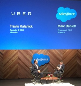 Marc Benioff, CEO de Salesforce, et Travis Kalanick, CEO de Uber